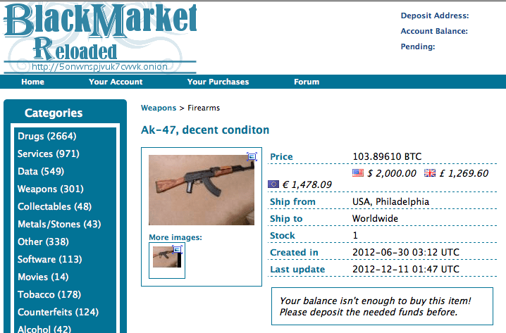 blackmarket for weapons